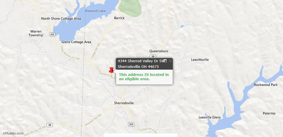 USDA Loan Eligiblity Maps From - Sherrodsville, OH