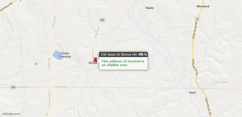 USDA Loan Eligiblity Maps From - Shreve, OH