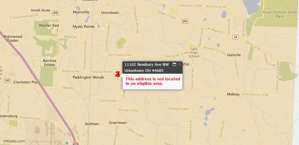 USDA Loan Eligiblity Map - 11162 Newbury Ave NW, Uniontown, OH 44685