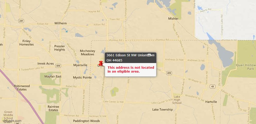USDA Loan Eligiblity Maps From - Uniontown, OH