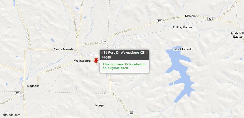 USDA Loan Eligiblity Maps From - Waynesburg, OH
