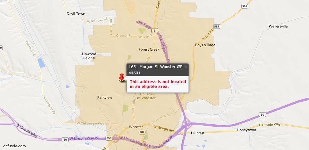 USDA Loan Eligiblity Maps From - Wooster, OH