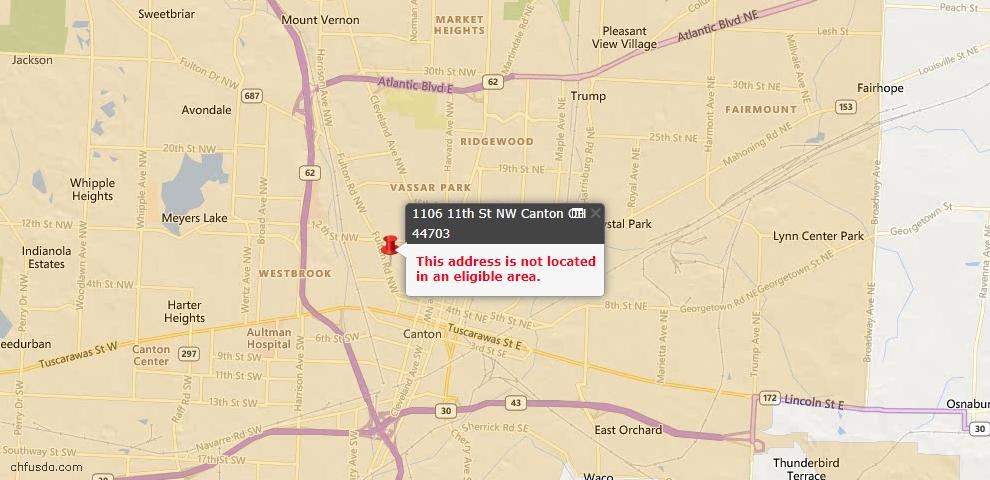USDA Loan Eligiblity Map - 1106 11th St NW, Canton, OH 44703