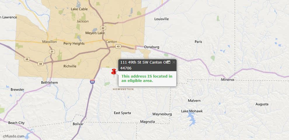 USDA Loan Eligiblity Map - 111 49th St SW, Canton, OH 44706
