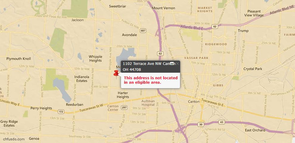 USDA Loan Eligiblity Map - 1102 Terrace Ave NW, Canton, OH 44708