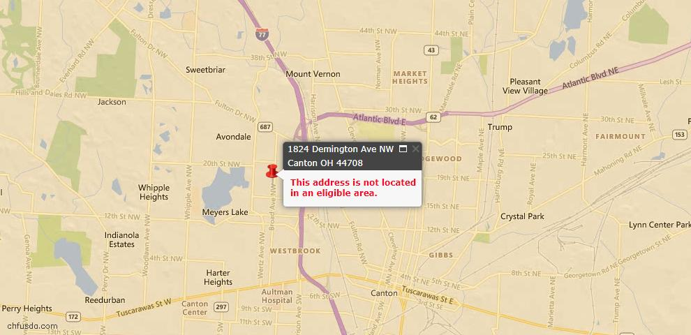USDA Loan Eligiblity Maps From - 44708, OH