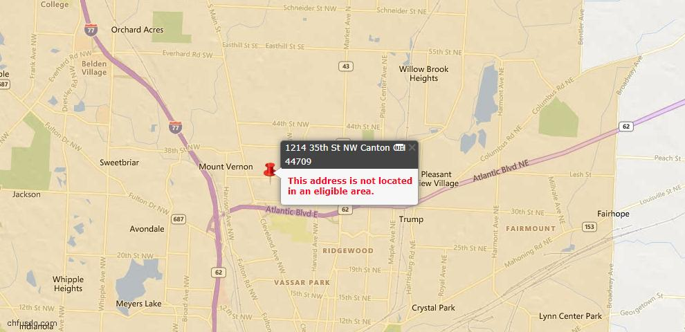 USDA Loan Eligiblity Map - 1214 35th St NW, Canton, OH 44709