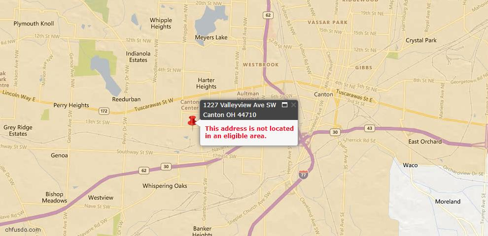 USDA Loan Eligiblity Map - 1227 Valleyview Ave SW, Canton, OH 44710