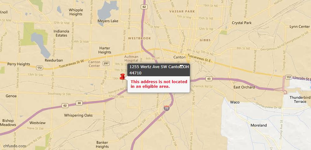USDA Loan Eligiblity Map - 1255 Wertz Ave SW, Canton, OH 44710