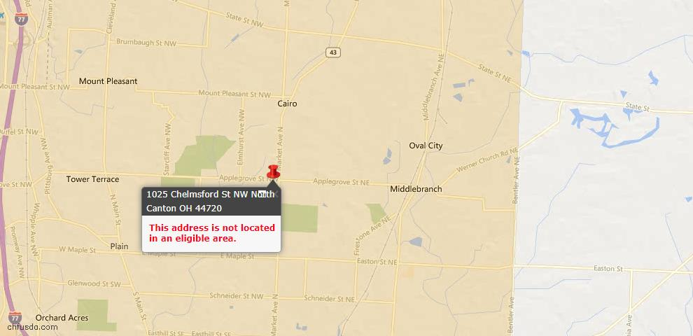 USDA Loan Eligiblity Map - 1025 Chelmsford St NW, North Canton, OH 44720