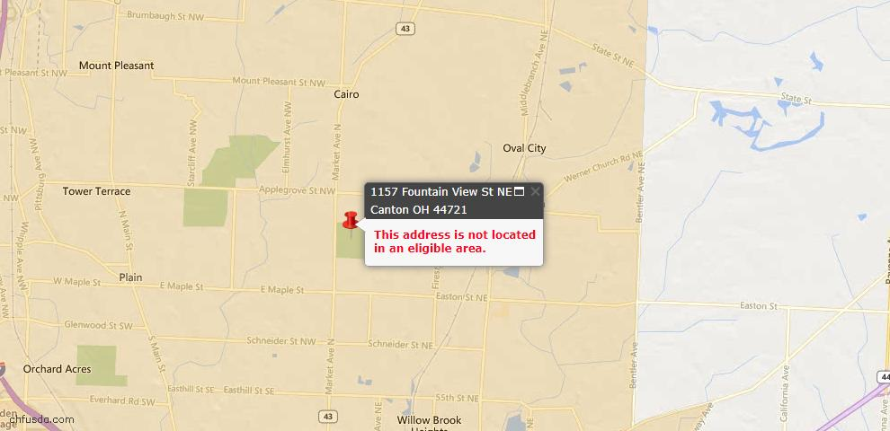 USDA Loan Eligiblity Map - 1157 Fountain View St NE, Canton, OH 44721