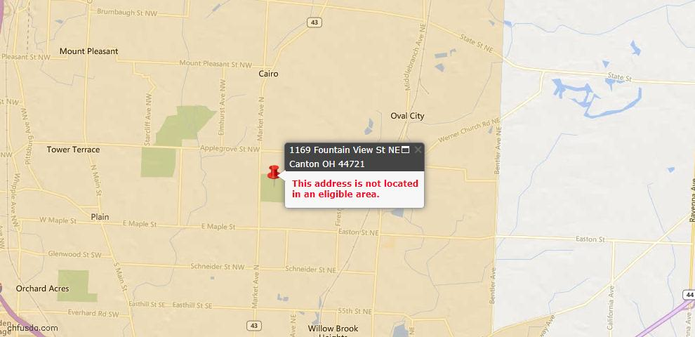 USDA Loan Eligiblity Map - 1169 Fountain View St NE, Canton, OH 44721