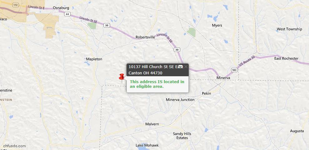 USDA Loan Eligiblity Map - 10137 Hill Church St SE, East Canton, OH 44730