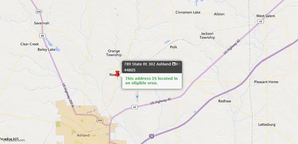 USDA Loan Eligiblity Map - 789 St. Rt. 302, Ashland, OH 44805