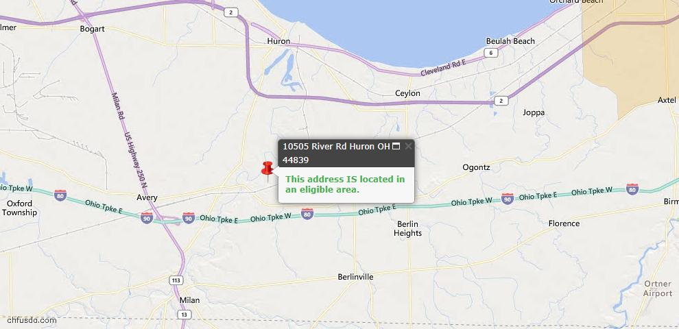 USDA Loan Eligiblity Map - 10505 River Rd, Huron, OH 44839