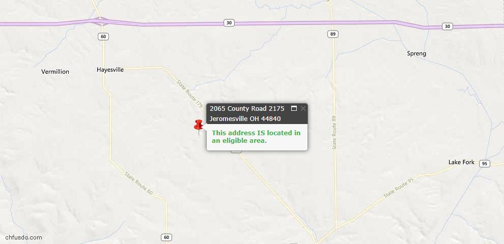 USDA Loan Eligiblity Maps From - Jeromesville, OH