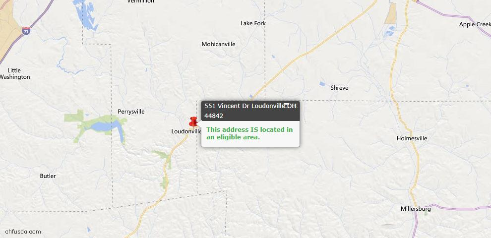 USDA Loan Eligiblity Map - 551 Vincent Dr, Loudonville, OH 44842
