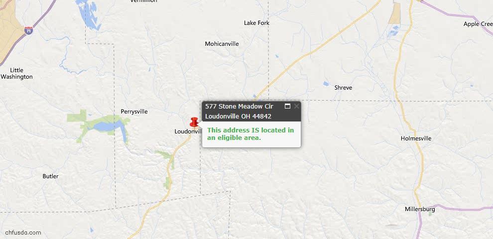 USDA Loan Eligiblity Map - 577 Stone Meadow Cir, Loudonville, OH 44842