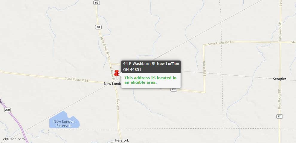 USDA Loan Eligiblity Maps From - New London, OH
