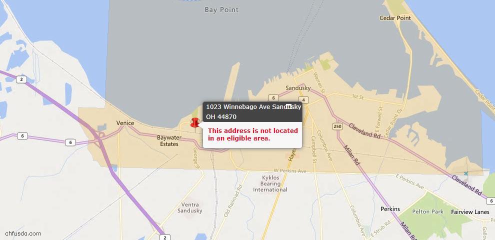 USDA Loan Eligiblity Map - 1023 Winnebago Ave, Sandusky, OH 44870