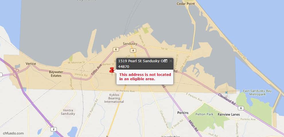 USDA Loan Eligiblity Maps From - Sandusky, OH