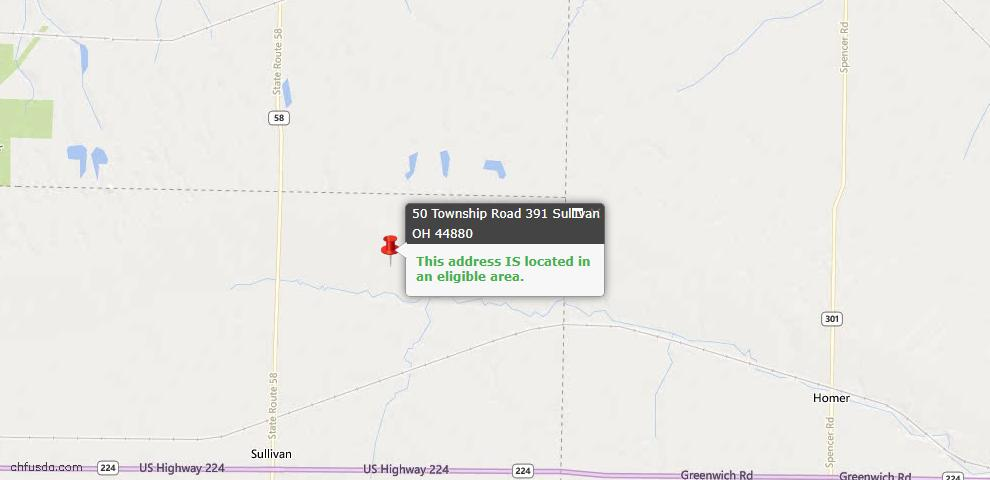 USDA Loan Eligiblity Maps From - Sullivan, OH