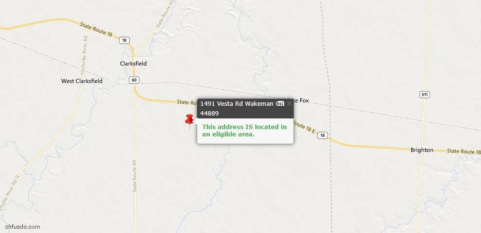 USDA Loan Eligiblity Maps From - Wakeman, OH