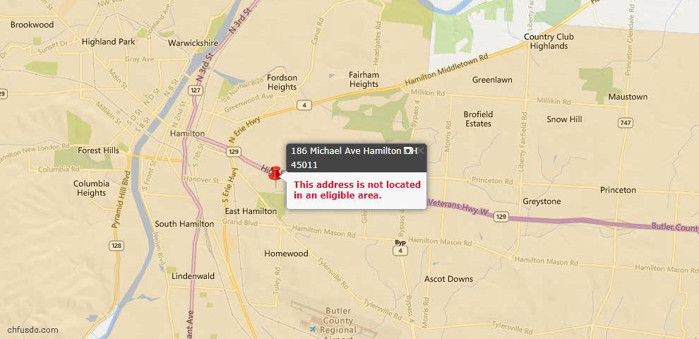 USDA Loan Eligiblity Maps From - Hamilton, OH