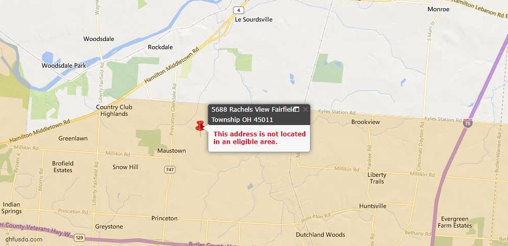 USDA Loan Eligiblity Map - 5688 Rachels Vw, Liberty Twp, OH 45011