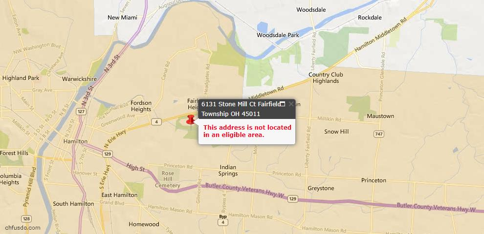 USDA Loan Eligiblity Map - 6131 Stone Mill Ct, Fairfield Twp, OH 45011