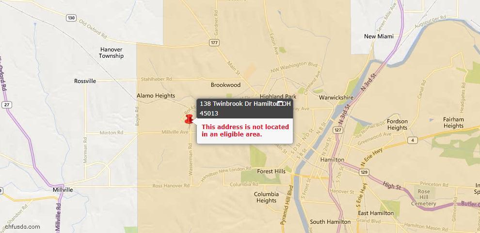 USDA Loan Eligiblity Map - 138 Twinbrook Dr, Hamilton, OH 45013