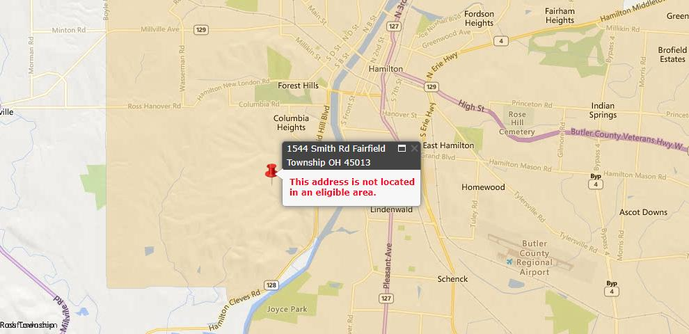 USDA Loan Eligiblity Map - 1544 Smith Rd, St Clair Twp, OH 45013