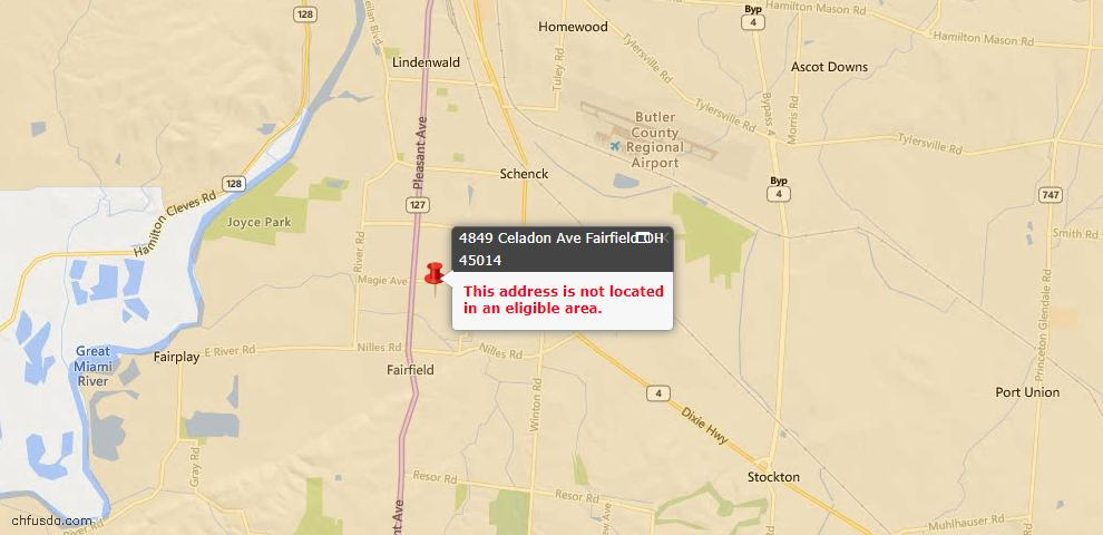 USDA Loan Eligiblity Map - 4849 Celadon Ave, Fairfield, OH 45014
