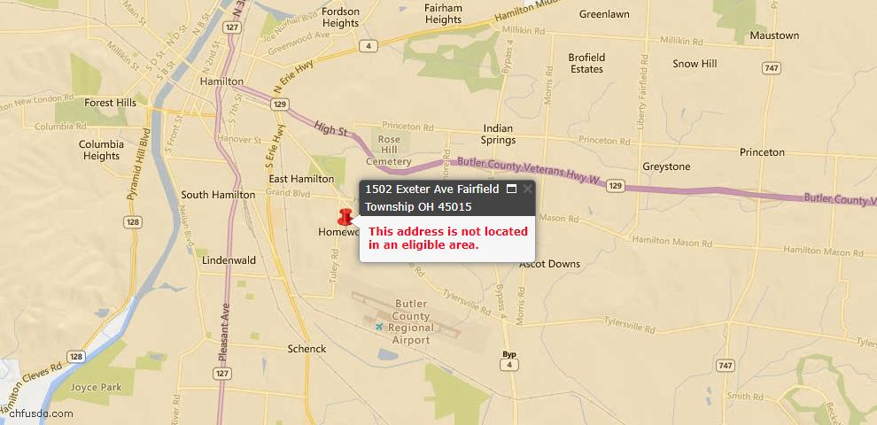 USDA Loan Eligiblity Maps From - Fairfield Twp, OH