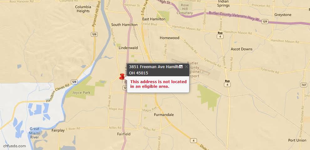USDA Loan Eligiblity Map - 3851 Freeman Ave, Hamilton, OH 45015