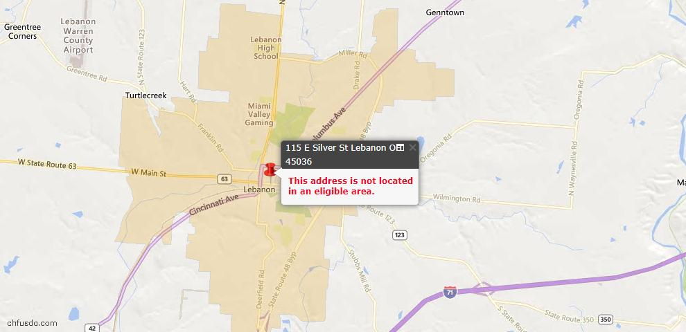 USDA Loan Eligiblity Maps From - Lebanon, OH