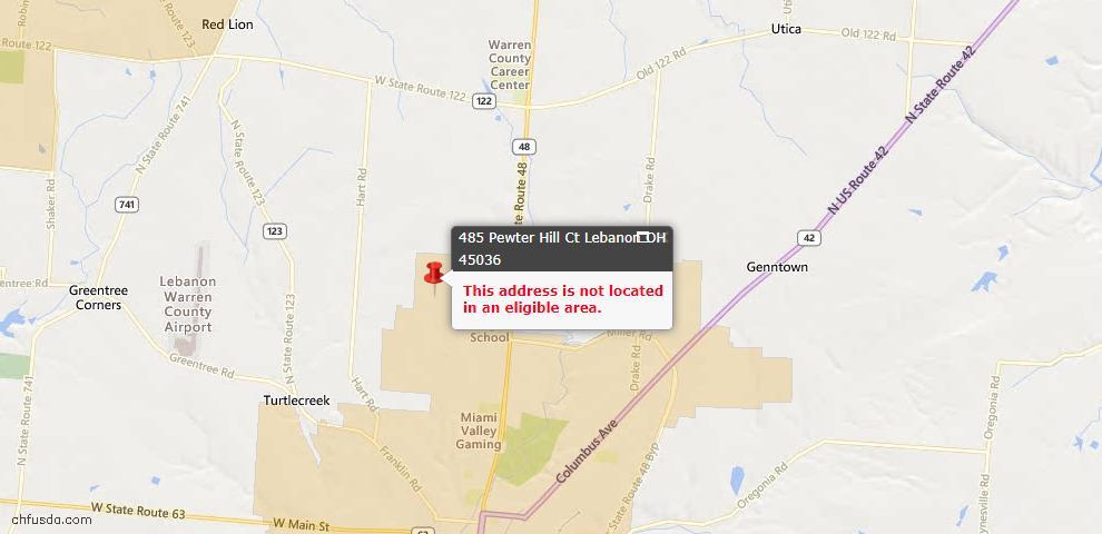 USDA Loan Eligiblity Maps From - Warren County, OH