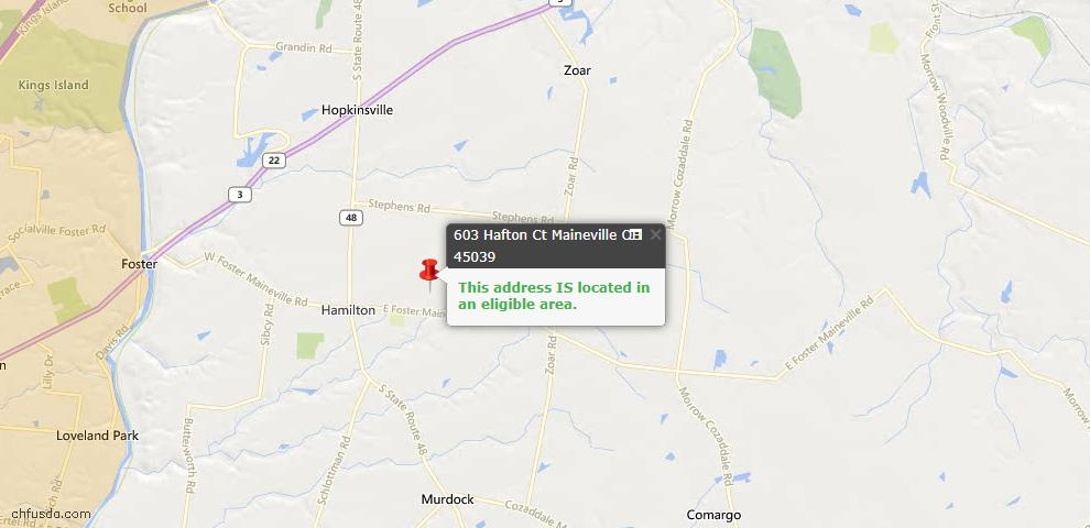USDA Loan Eligiblity Maps From - Maineville, OH