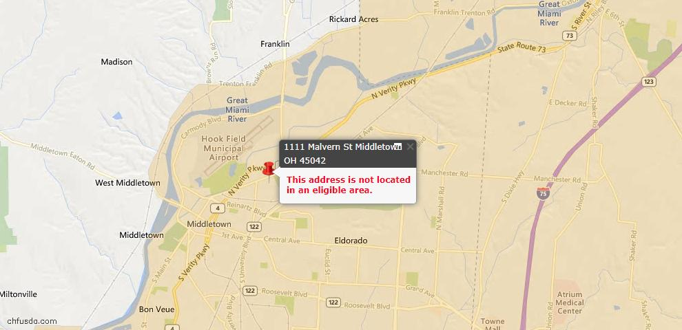 USDA Loan Eligiblity Map - 1111 Malvern St, Middletown, OH 45042