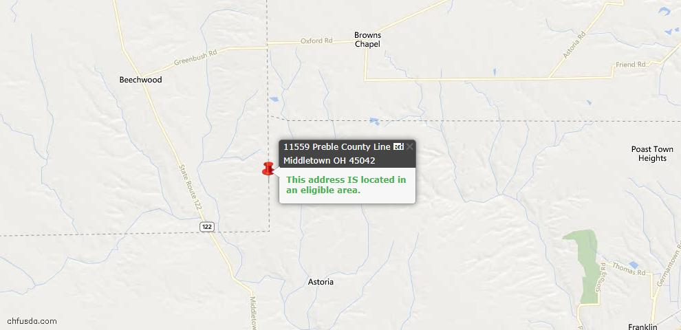USDA Loan Eligiblity Maps From - Gratis Twp, OH