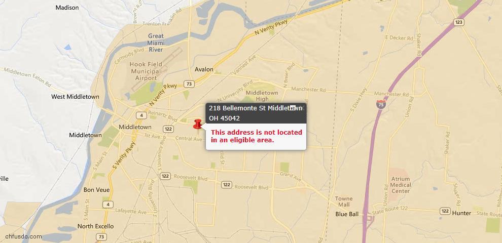 USDA Loan Eligiblity Map - 218 Bellemonte St, Middletown, OH 45042