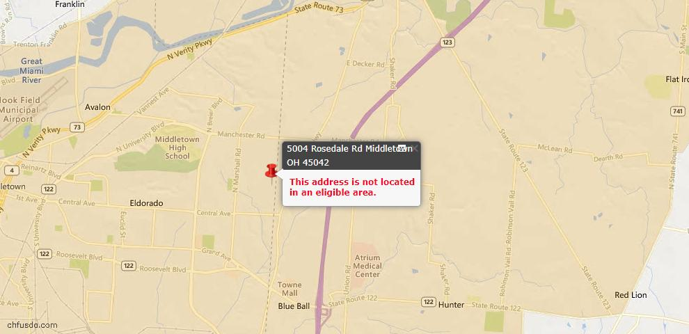 USDA Loan Eligiblity Map - 5004 Rosedale Rd, Middletown, OH 45042