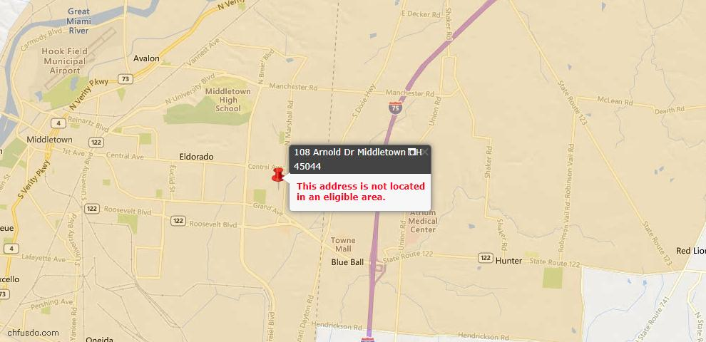 USDA Loan Eligiblity Maps From - Middletown, OH