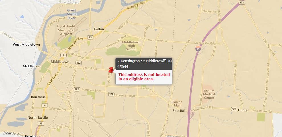 USDA Loan Eligiblity Map - 2 Kensington St, Middletown, OH 45044