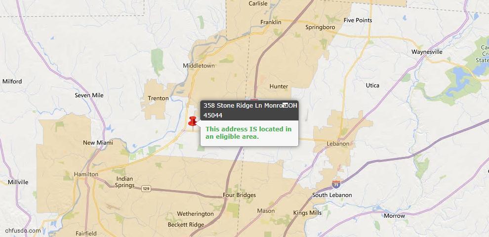 USDA Loan Eligiblity Map - 358 Stone Ridge Ln, Monroe, OH 45044