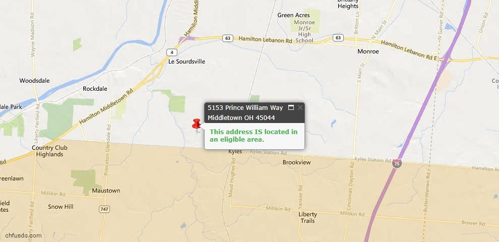 USDA Loan Eligiblity Maps From - Liberty Twp, OH