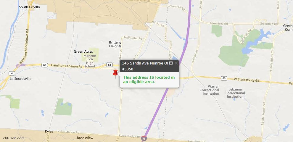 USDA Loan Eligiblity Maps From - Monroe, OH