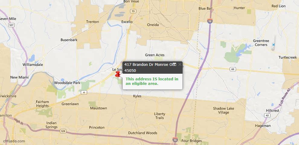 USDA Loan Eligiblity Map - 417 Brandon Dr, Monroe, OH 45050