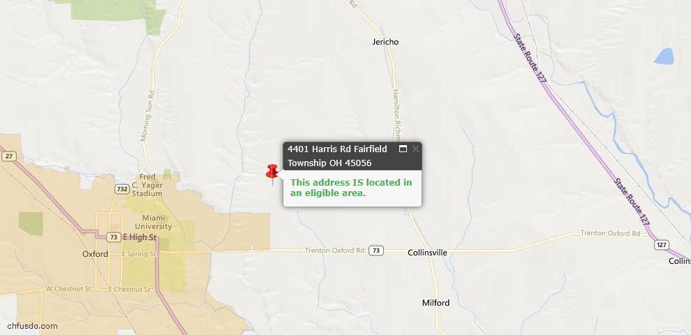 USDA Loan Eligiblity Map - 4401 Harris Rd, Milford Twp, OH 45056