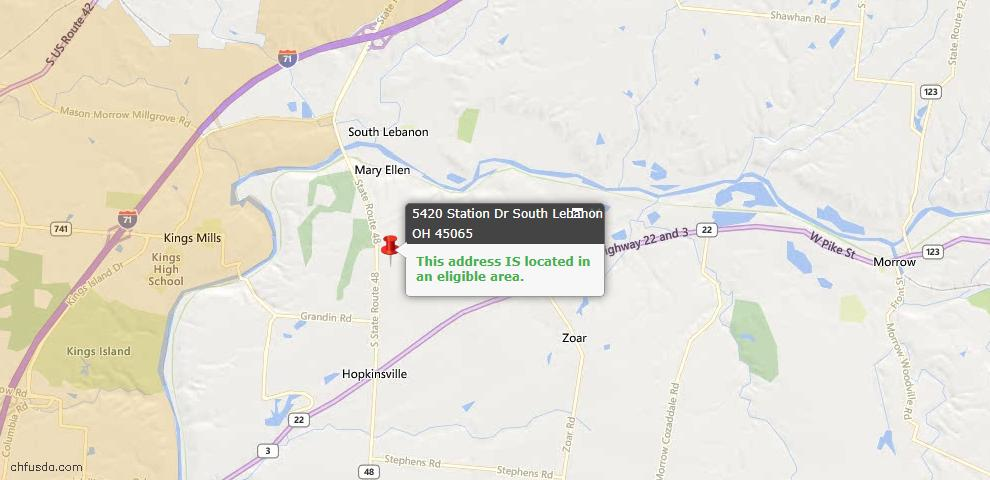USDA Loan Eligiblity Maps From - South Lebanon, OH